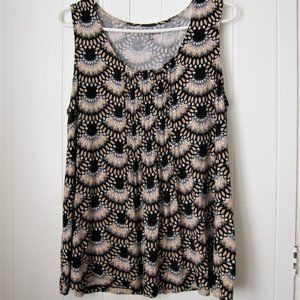 Black Sleeveless Blouse with Boho/Floral Pattern